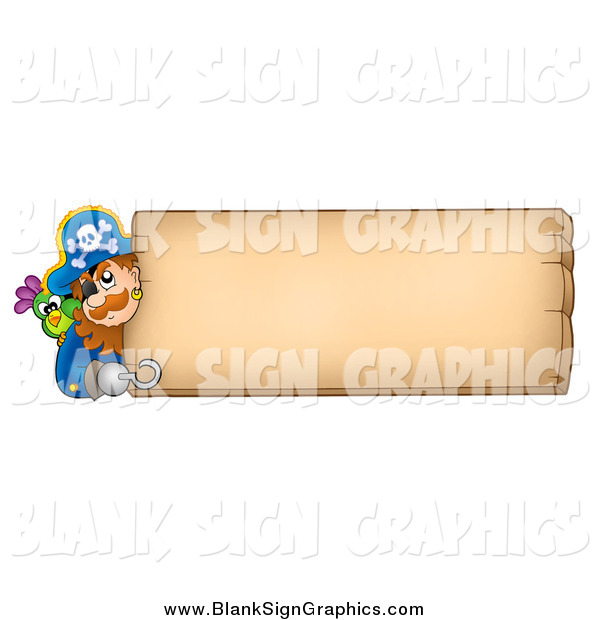 Vector Cartoon Illustration of a Male Pirate and Parrot Looking Around a Blank Wood Sign