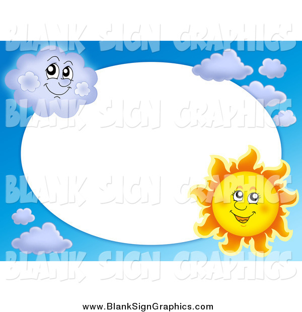Vector Cartoon Illustration of a Sun and Cloud Frame Around White Oval Space