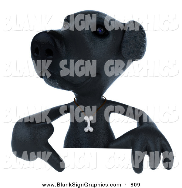 Vector Illustration of a 3d Black Lab Dog Character Pointing to and Standing Behind a Blank Sign