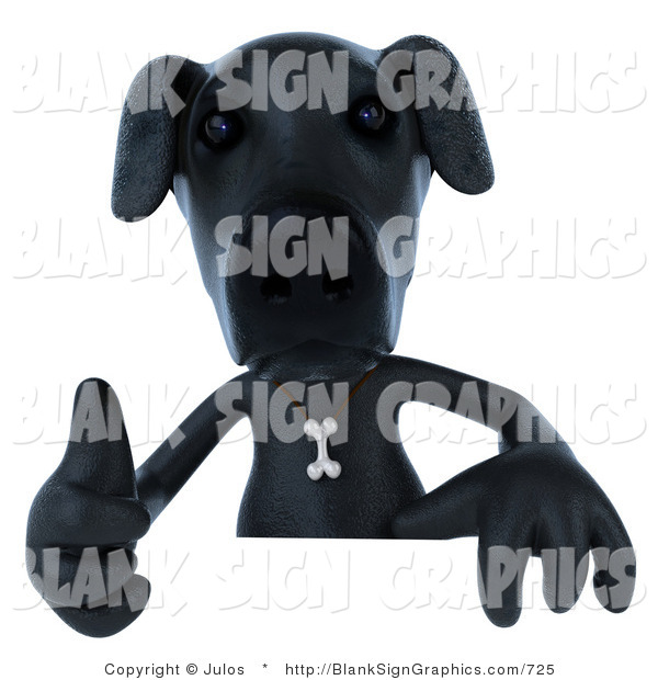 Vector Illustration of a 3d Black Lab Holding a Thumb up and Blank Sign