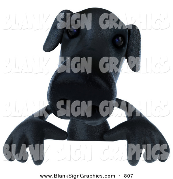 Vector Illustration of a 3d Black Labrador Dog Character Standing Behind a Blank Sign
