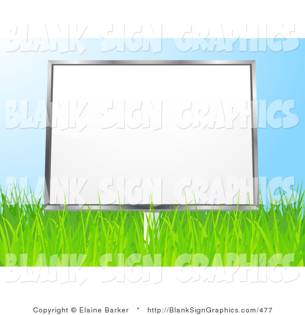 Vector Illustration of a 3d Blank Billboard Sign in a Grassy Field, Against a Blue Sky