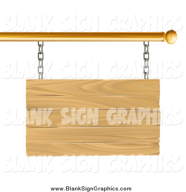 Vector Illustration of a 3d Blank Wood Sign Suspended from a Gold Rod