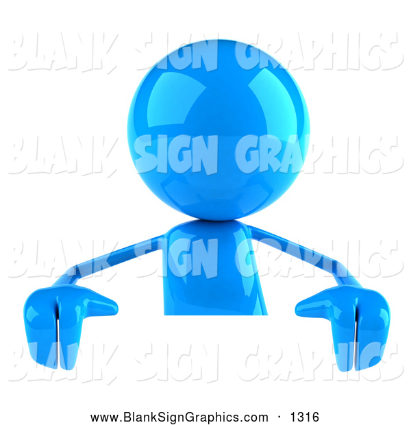 Vector Illustration of a 3d Blue Bob Character Standing Behind a Blank White Sign