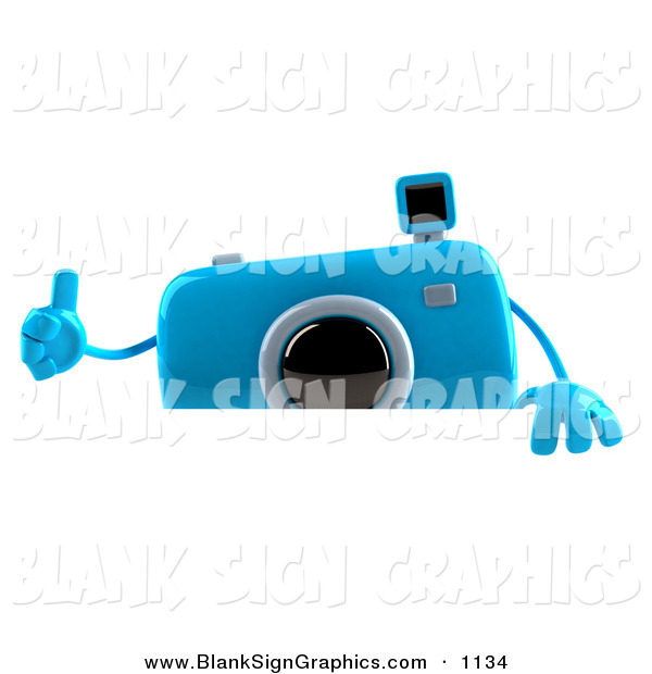 Vector Illustration of a 3d Blue Camera Boy Character Giving the Thumbs up to the Viewer and Standing Behind a Blank Sign