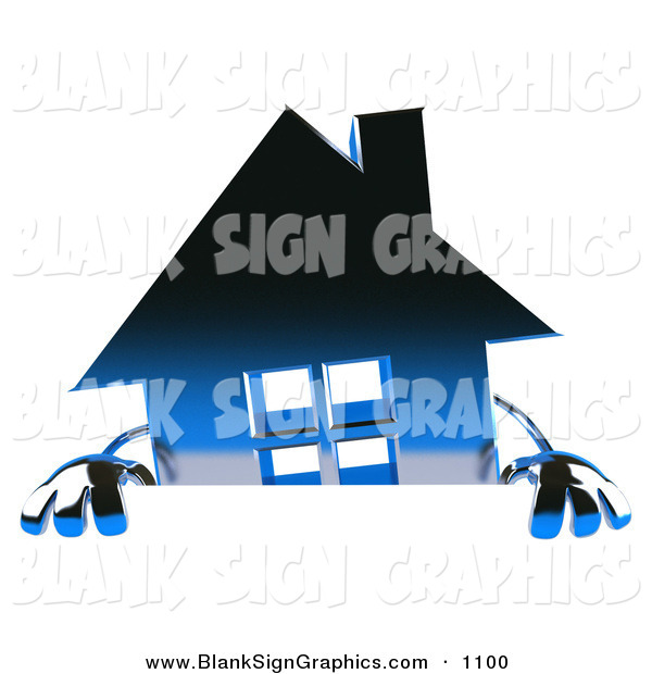 Vector Illustration of a 3d Blue Chrome Home Character Standing Behind a Blank Sign