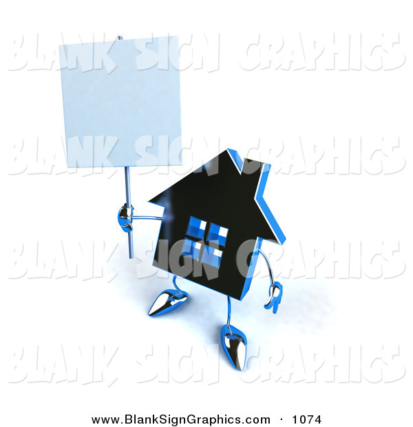 Vector Illustration of a 3d Blue Chrome House Character Holding up a Blank Sign on White