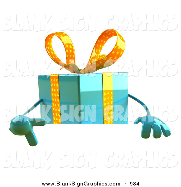 Vector Illustration of a 3d Blue Gift Character Standing Behind a Blank Sign