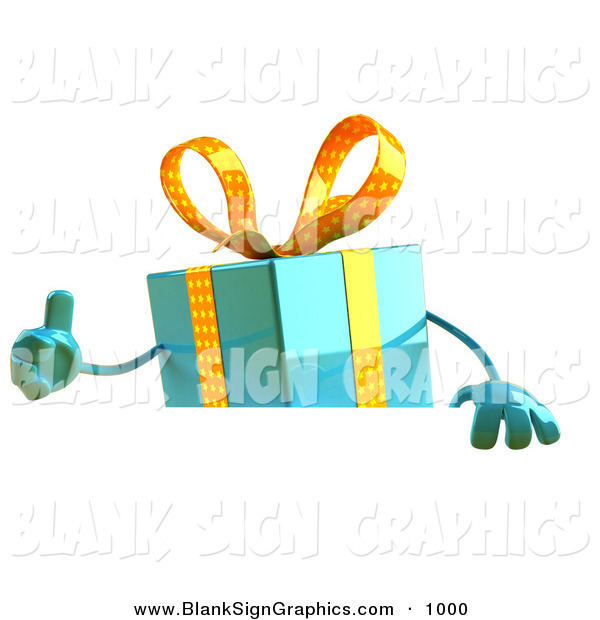 Vector Illustration of a 3d Blue Gift Character Standing Behind a Blank Sign on White