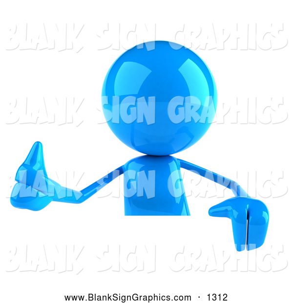 Vector Illustration of a 3d Blue Man Character Giving the Thumbs up and Standing Behind a Blank Sign