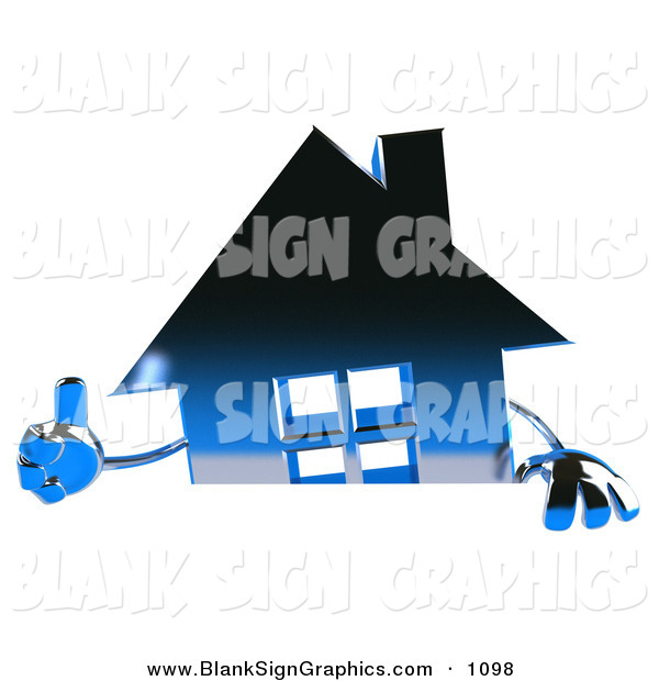 Vector Illustration of a 3d Blue Metallic House Character Giving the Thumbs up and Standing Behind a Blank Sign