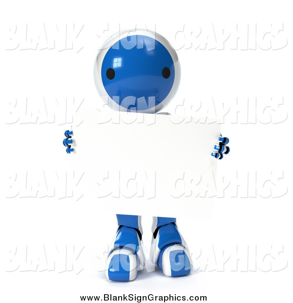 Vector Illustration of a 3d Blue Robot Carrying a Blank Sign, on a White Background