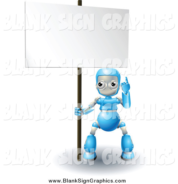 Vector Illustration of a 3d Blue Robot Pointing up to a Blank Sign