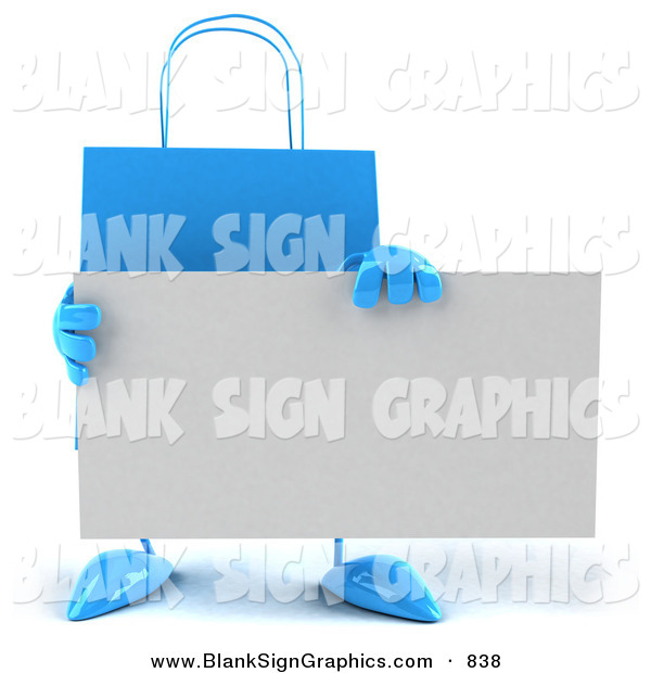 Vector Illustration of a 3d Blue Shopping Bag Holding a Blank White Business Card
