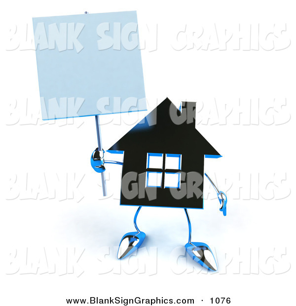 Vector Illustration of a 3d Blue Silver House Character Holding up a Blank Sign