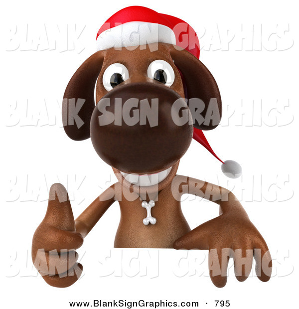 Vector Illustration of a 3d Brown Christmas Dog Character Giving the Thumbs up Behind a Blank Sign
