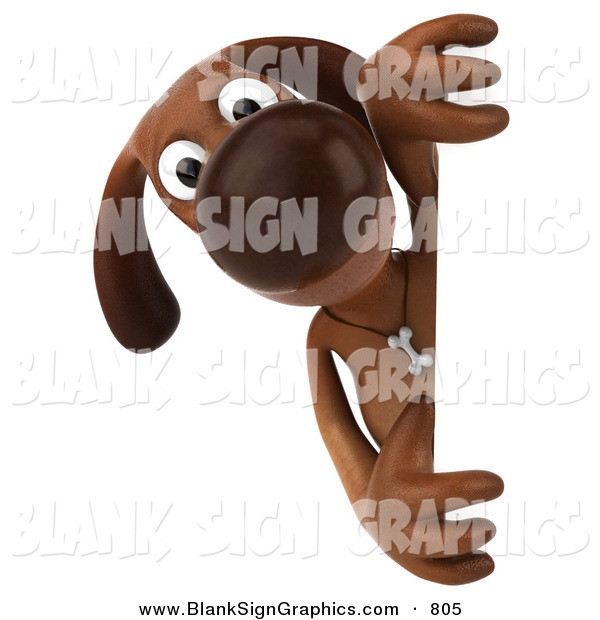 Vector Illustration of a 3d Brown Dog Character Looking Around a Sign