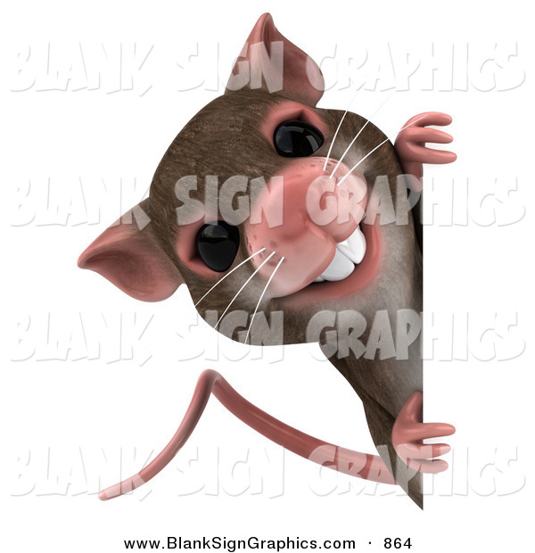 Vector Illustration of a 3d Brown Mouse Character Looking Around a Blank Sign