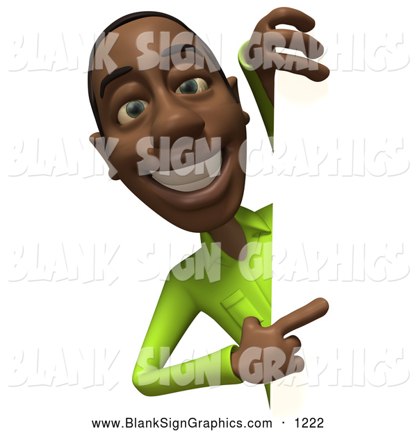 Vector Illustration of a 3d Casual Black Man Character in a Green Shirt Pointing and Looking Around a Blank Sign