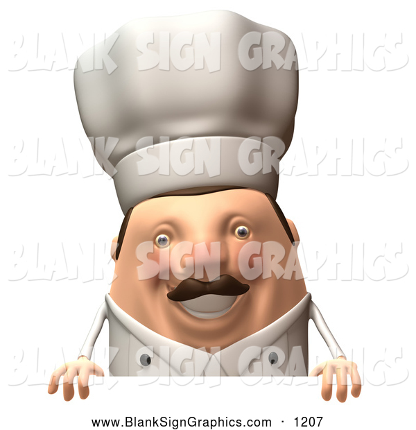 Vector Illustration of a 3d Cheerful Chubby Chef Steve Character Standing Behind a Blank Sign
