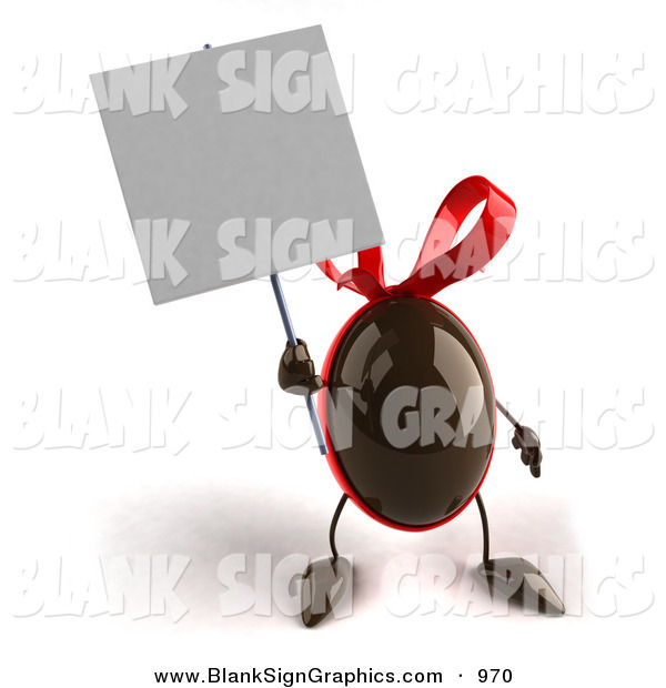 Vector Illustration of a 3d Chocolate Easter Egg Character Holding up a Blank White Sign