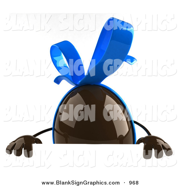 Vector Illustration of a 3d Chocolate Easter Egg Character Standing Behind a Blank White Sign