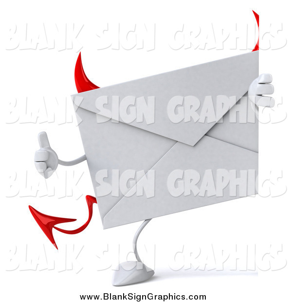 Vector Illustration of a 3d Devil Envelope Character Looking Around a Sign