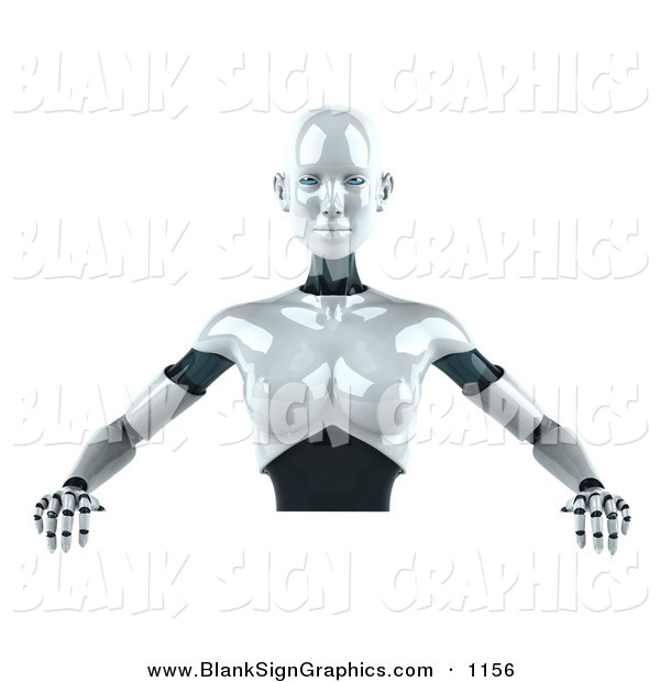 Vector Illustration of a 3d Femme Metal Robot Character Standing Behind a Blank Sign