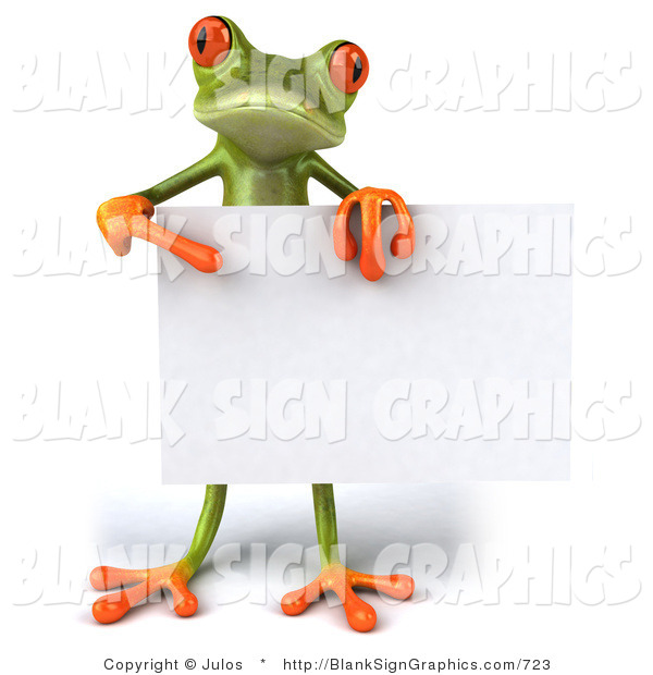 Vector Illustration of a 3d Frog Holding a Blank Sign