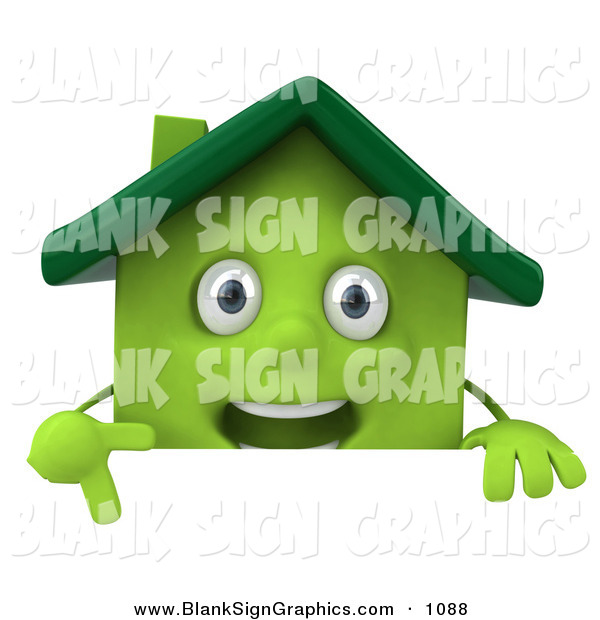 Vector Illustration of a 3d Green Clay House Character Pointing down and Standing Behind a Blank Sign