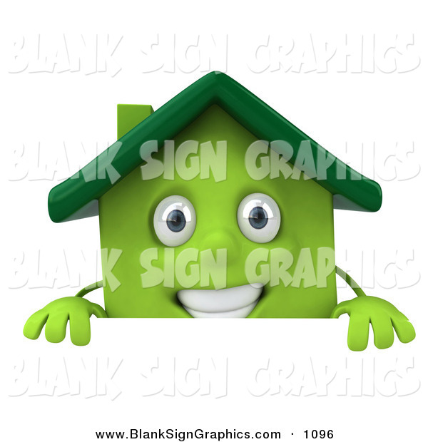 Vector Illustration of a 3d Green Clay House Character Standing Behind a Sign Board