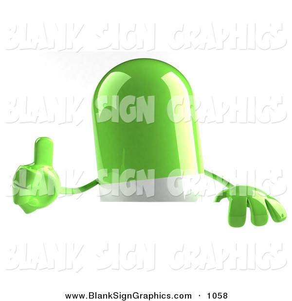 Vector Illustration of a 3d Green Pill Character Giving the Thumbs up on White