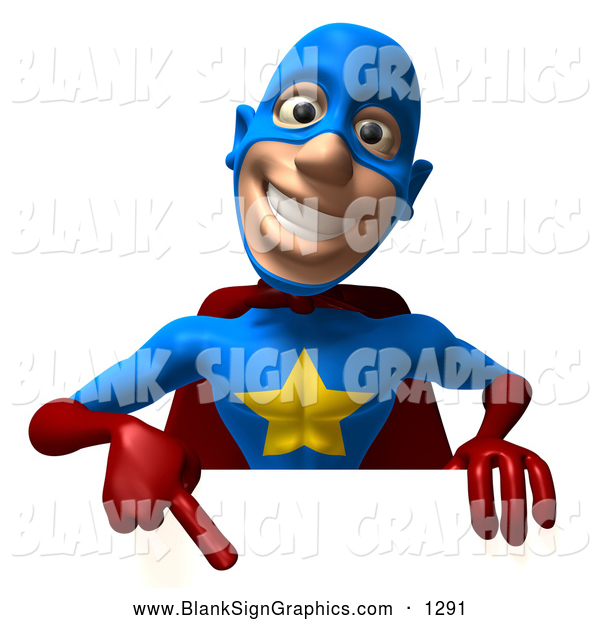 Vector Illustration of a 3d Grinning Male Star Superhero Character Pointing down at a Blank Sign