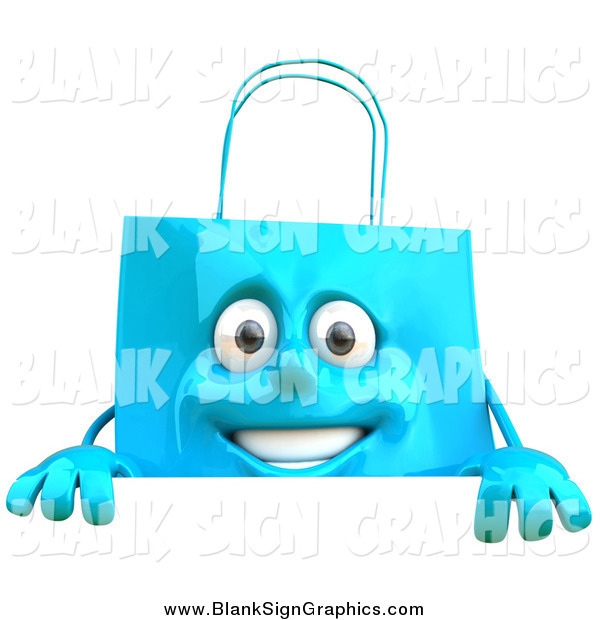 Vector Illustration of a 3d Happy Blue Shopping Bag Character Smiling over a Sign