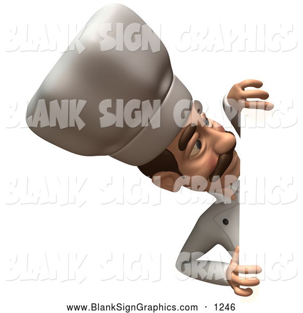 Vector Illustration of a 3d Happy Chef Character Looking Around a Blank Sign
