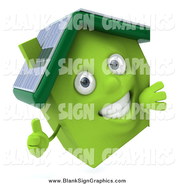 Vector Illustration of a 3d Happy Green Solar Home Holding a Thumb up Around a Sign