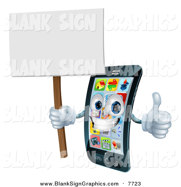 Vector Illustration of a 3d Happy Touch Screen Smart Cell Phone Holding a Thumb up and Sign