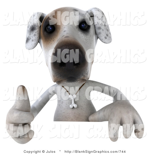 Vector Illustration of a 3d Jack Russell Terrier Dog Character Gesturing the Thumbs up and Standing Behind a Sign