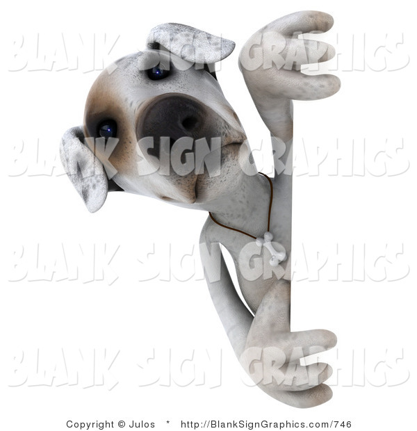 Vector Illustration of a 3d Jack Russell Terrier Dog Character Peeking Around a Sign