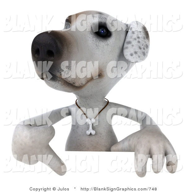 Vector Illustration of a 3d Jack Russell Terrier Dog Character Pointing down at and Standing Behind a White Sign