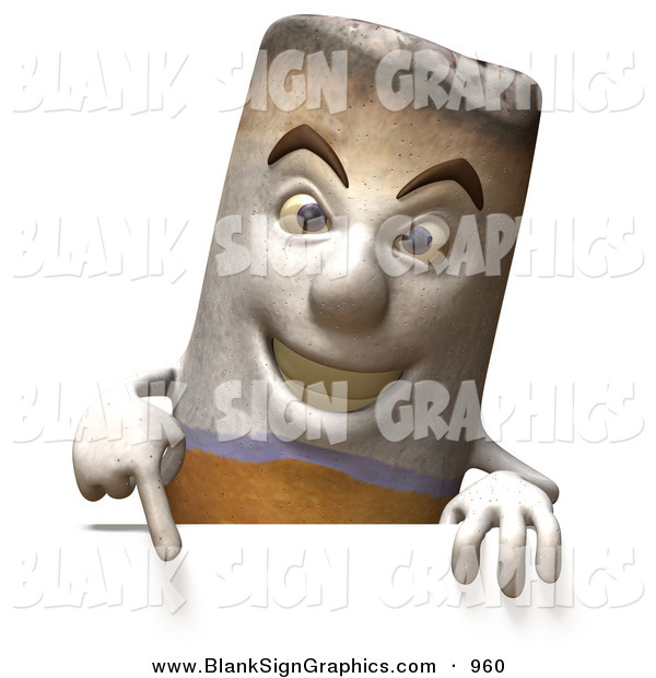 Vector Illustration of a 3d Mean Cigarette Character Pointing down and Standing Behind a Blank Sign
