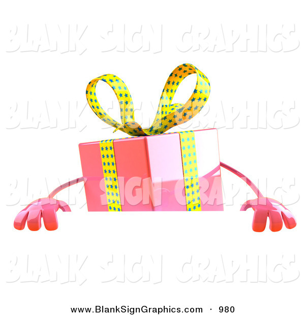 Vector Illustration of a 3d Pink Gift Character Standing Behind a Blank Sign