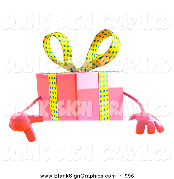 Vector Illustration of a 3d Pink Gift Character Standing Behind a Blank White Sign