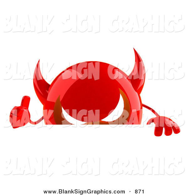 Vector Illustration of a 3d Red Devil Head Character Gesturing the Thumbs up and Standing Behind a Blank Sign