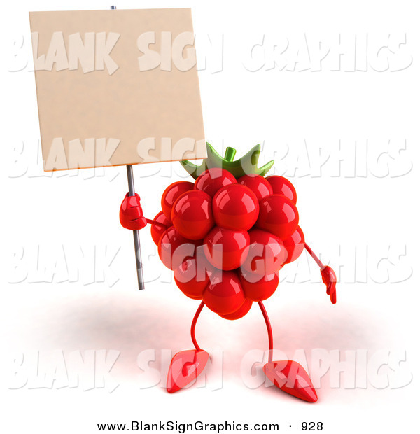 Vector Illustration of a 3d Red Raspberry Character Holding up a Blank Sign and Looking Forward