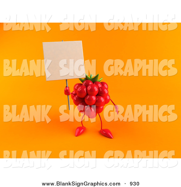 Vector Illustration of a 3d Red Raspberry Character Holding up a Blank Sign on Orange