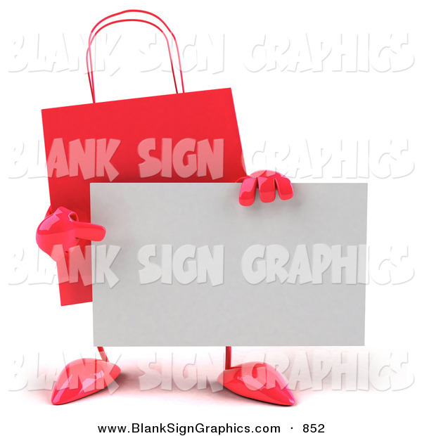 Vector Illustration of a 3d Red Shopping Bag Pointing at and Holding a Blank White Business Card