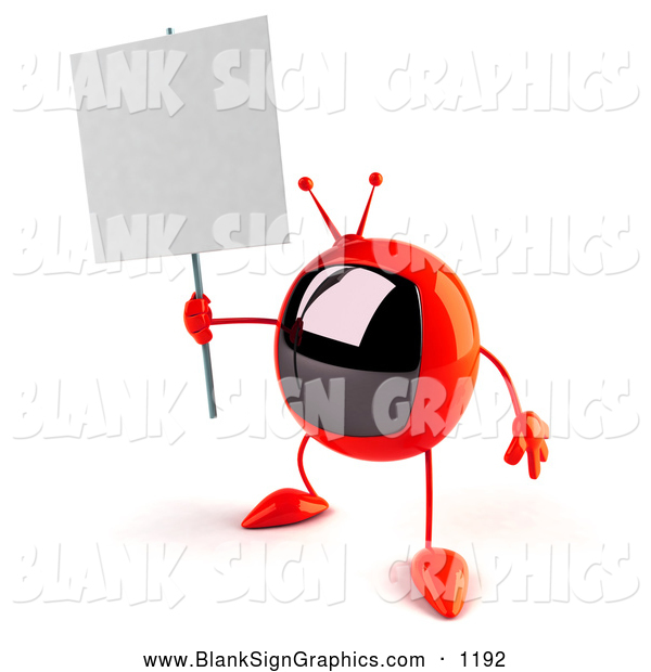 Vector Illustration of a 3d Red Square Television Character Holding up a Blank Sign