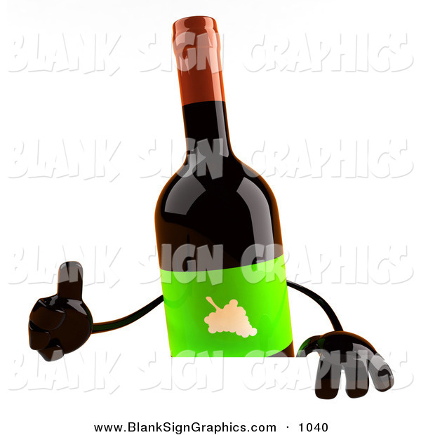 Vector Illustration of a 3d Red Wine Bottle Character Giving the Thumbs up and Standing Behind a Blank Sign