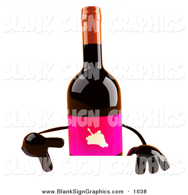 Vector Illustration of a 3d Red Wine Bottle Character Pointing down at and Standing Behind a Blank Sign